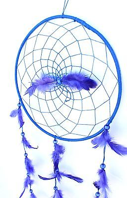 Large Royal Blue Dream Catcher Handmade String Feather Car Home Wall Decor 2