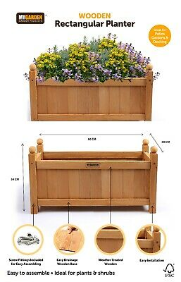 Wooden Garden Planters Outdoor Plants Flowers Pot Square Rectangular Display New 3