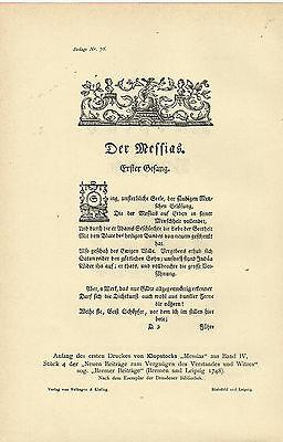 1910 Klopstock Messias Titel und der erste Druck Anfang aus Band IV Faksimile