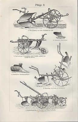 Lithografie 1906: Pflüge I/II. Amerikanisch Englisch Beet-Rigol-Wechsel-Pflug 2