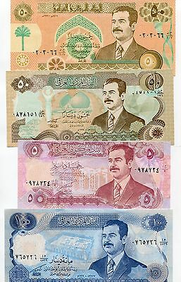 2 Of 3 7 Saddam Iraq Dinar Notes Money Hussein Currency Unc Set