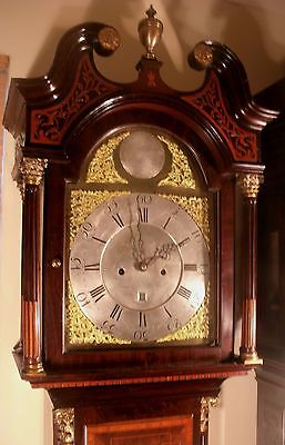 """Antique Mahogany Brass Dial """"Month Duration """" Longcase / Grandfather Clock 8"""