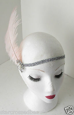 Pink Silver Ostrich Feather Flapper Headpiece 1920s Vintage Headband Pearl k66 2