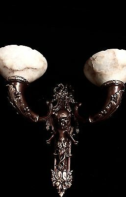 HUGE Pair of XL wall lights bronze & real alabaster cherub smade in America 2