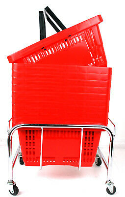 Pack of 20 x 2 Handle Red Plastic Shopping Basket Retail Supermarket Use 4