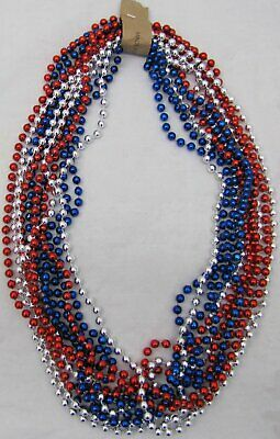 Mardi Gras Beads Red Blue Silver USA Troops July 4th Parade 6 Dozen 72 NECKLACES 6