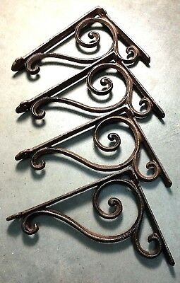 SET OF 4 RUSTIC  BROWN SCROLL BRACE/BRACKET vintage looking patina finish 3