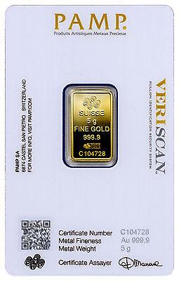 PAMP Suisse 5 Gram .9999 Gold Bar - Fortuna With Assay Certificate SKU29096