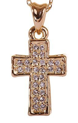 3c6883d0e3 ... Swarovski Elements Crystal Pave Cross Mini Pendant Necklace Gold  Authentic 7182c 2