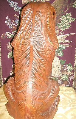 Antique Beautifully Carved and Detailed Mahogany Fireplace Dogs (2) 5