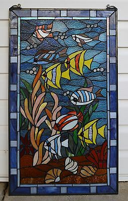 """20"""" x 34"""" Fish under the Sea Tiffany Style stained glass window panel 7"""