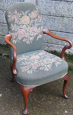 Superb Victorian Walnut Tapestry Armchair Very Clean Delivery Available 2