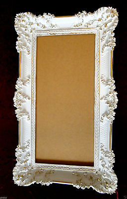 Bilderrahmen Weiß/Gold Barock Gemälderahmen  Antik Rokoko 96x57 Rahmen Groß 3074 5