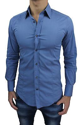 Camicia Uomo Slim Fit Super Aderente Col. Lavagna Nuova Casual Xs S M L Xl Xxl 2