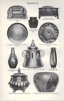Lithografie 1909: Treibarbeit. I/II. Gold Kunst-Handwerk Beschläge Dosen Teller