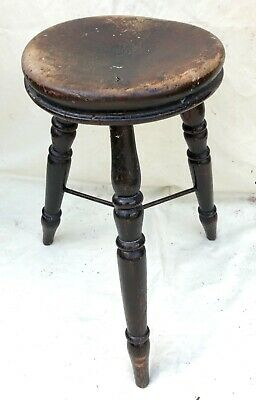 Antique Victorian Ash and Elm Farmhouse Kitchen Stool / Milking Stool : 3 Legs 2