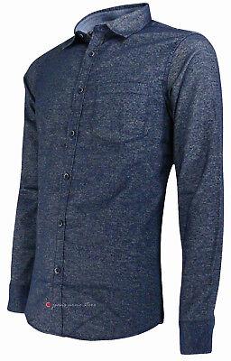 Camicia in flanella uomo manica lunga Slim Fit taschino blu nero tg S M L XL XXL 7
