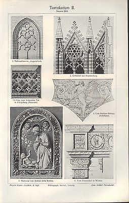 Chromo/Lithografien 1909 Terrakotten I-III. Mosaik Terrakotta Stein Marmor Farbe 2