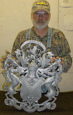 Hooded Knight with Fleur-Di-Lis,Plaque,Shield,Crest,Coat of Arms, Aluminum 7