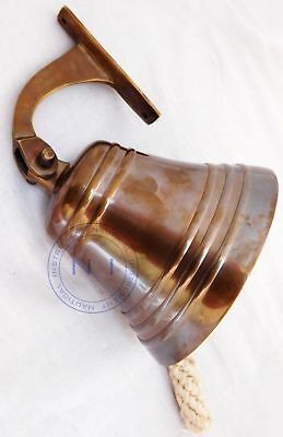 Antique Brass Ship Bell Nautical Hanging Door Bell With Wall Mounted Bracket 5