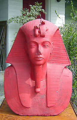 """Contemporary EGYPTIAN pharaoh HEAD life size PLASTER King Tut CHINESE RED 21"""" h 2"""