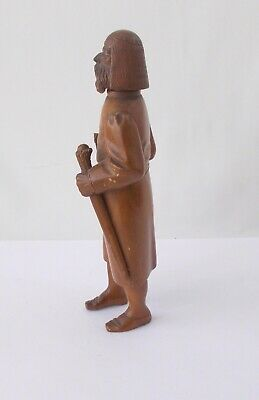"""Wood Carved Ethnic Man with Staff~~7 1/2"""" Tall~~Beaded Eyes~~Stands On His Own 2"""