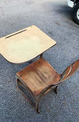 Vintage Student wooden metal chair + attached desk combo USA school house learn 2
