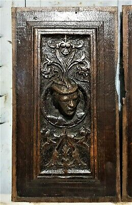 16 th Pair renaissance portrait panel Antique french oak architectural salvage 2
