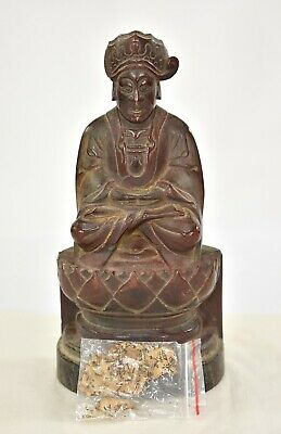 Antique Chinese Red Gilt Wood Carved Statue Figure Buddha, 1887 of Qing Dynasty 2