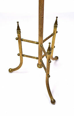 Antique Brass Fire or Dressing Pole Screen Embossed Tree Twig Pattern 7