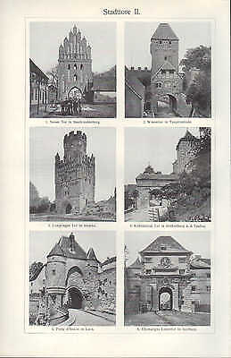 Lithografie 1909: Stadttore. I/II. Stadt Danzig Trier Verona Tor Standal Laon 2