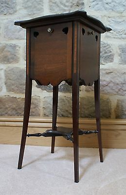 Antique Side Table Inlaid Mahogany Sweetheart Tapered Legs Fold Out Sides Rare 3