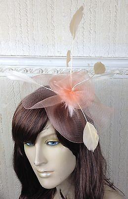 nude peach coral feather hair headband fascinator millinery wedding ascot 2