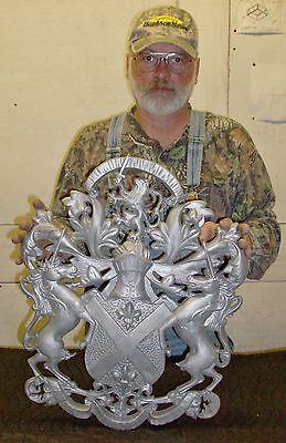 "Scottish Rampant Unicorn with Lion, Driveway Gate Crest,Cast Aluminum,23""x 19"" 2"