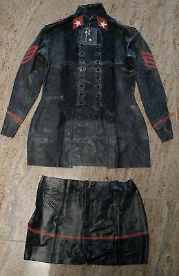 Latexanzug Zweiteiler Military Latex 0,4mm rubber Catsuit Damen Hotpant Uniform 4