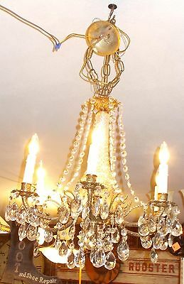 Spectacular Antique  Brass 6 Embossed Arm Chandelier 4