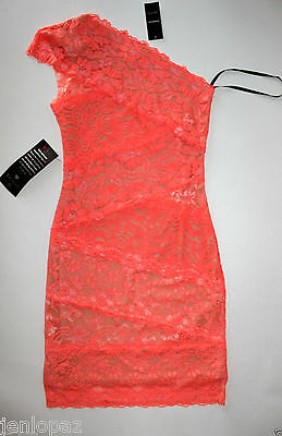 NWT Bebe coral pink lace dress one shoulder ivory overlay mixed vegas top XXS 0 2