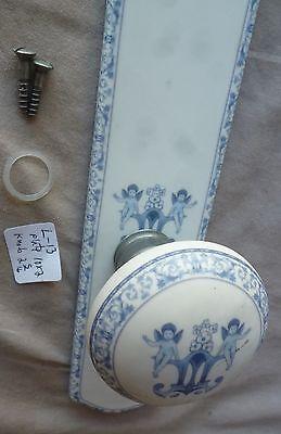 Door Knob Marked Limoges France White Porcelain Cherubs w backplate nickel  #L13 2