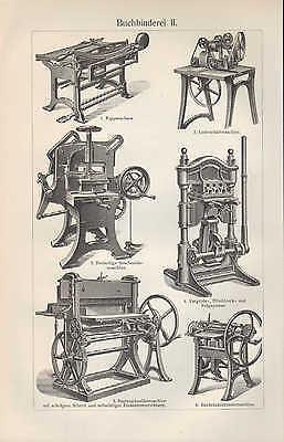 Lithografie 1905: Buch-Binderei I/II. Walz-Werk Falz-Maschine Kreis-Schere Techn 2
