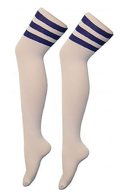 Girls Boys Cotton High Thigh OTK Socks Kids Stripe Raferee over the Knee Socks 3