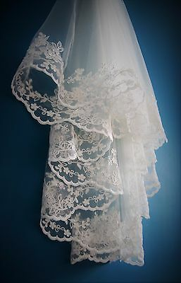 Wedding Veil *Fingertip Length*2 Tier*Wide Lace H* Ivory&off white* 2