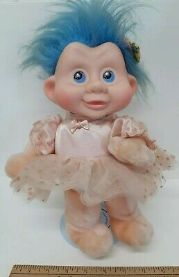 "Blue Hair,3/"",New Vintage Baby Camellia with Gray Cat Magic Trolls by Applause"