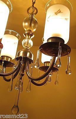 Vintage Lighting lovely petite 1940s brass glass chandelier 2