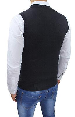 a smanicato gilet uomo sartoriale nero casual maglia