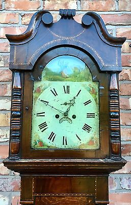 Antique Inlaid Oak & Mahogany Grandfather Longcase Clock E. BUTLER GREAT BRIDGE 2