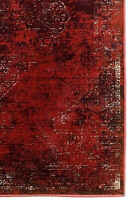 Burgundy Rug Classic Vintage Design Traditional Faded Distressed Ruby Red 9