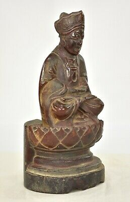 Antique Chinese Red Gilt Wood Carved Statue Figure Buddha, 1887 of Qing Dynasty 3