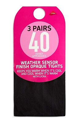 Women/'s Black Tights 3 Pairs 40//60//80//100 Denier Soft Opaque Tights With Lycra