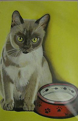 "C305   Original Acrylic Painting By Ljh  ""Bosco""  Cat Kitten 9"