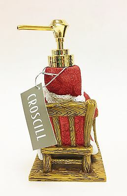 NEW CROSCILL WHITE+RED CHECKER RESIN GIFT BOXES+SILVER PUMP SOAP DISPENSER